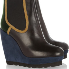 KENZO - Leather and suede wedge ankle boots