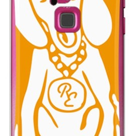 SECOND SKIN - Dog オレンジ×ホワイト design by ROTM (クリア) / for ARROWS S EM01F/EMOBILE