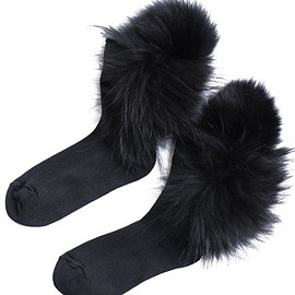 FAKUI - 2 Fur Sox (black×black)