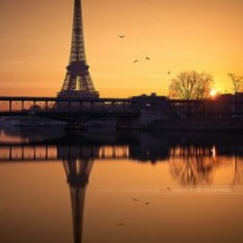 France - Eiffel tower at sunrise