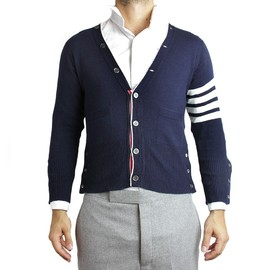 Thom Browne - Navy Blue Wool Cardigan
