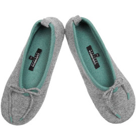 Cash Ca - Grey Two Tone Cashmere Slippers
