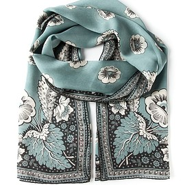 VALENTINO - SS2015 Light blue silk leaf print scarf