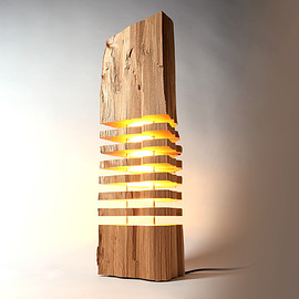 Reclaimed Wood Light Sculpture Tripod