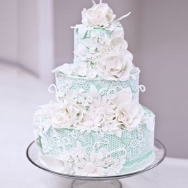 Pretty Pale Blue & Edible White Lace Cake