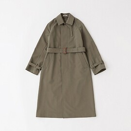 AURALEE - WOOL MAX CANVAS CHAMBRAY SOUTIEN COLLAR COAT OLIVE CHAMBRAY