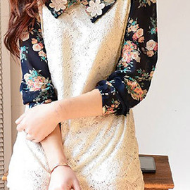 Floral Print Long Sleeve White Lace Mesh Shirt Tops