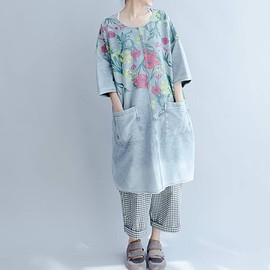 Loose fitting dress - Loose fitting round collar dress cotton long pullover shirt dress floral dress