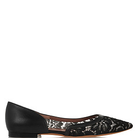 GIVENCHY - Point-toe flats in black lace and leather