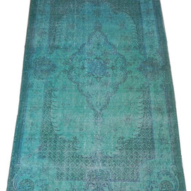 Overdyed Vintage Handmade Turkish Rug in Turquoise