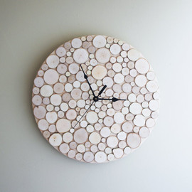 urbanplusforest - natural white birch forest wood clock (Large)  - made to order