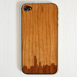 grandmaswoodentooth - Chicago Skyline Etching on Real Wood iPhone Skin Sticker
