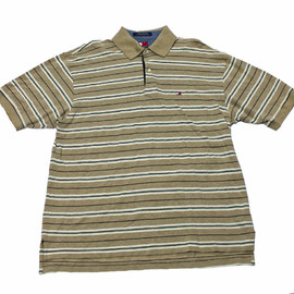 TOMMY HILFIGER - Vintage Tommy Hilfger Striped Polo Shirt Mens Size Large