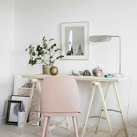 Pink Chair - Wood Table And Pink Chair