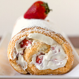 Brown Eyed Baker - Strawberries and Cream Angel Food Cake Roll