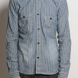 Scotch & Soda - Utility Stripe Denim Shirt in Blue