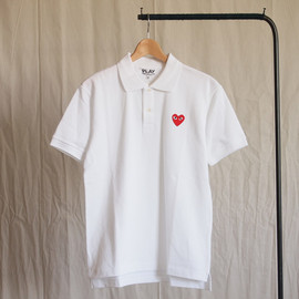 PLAY COMME des GARCONS - 綿鹿の子(赤エンブレム) Polo Shirt #white