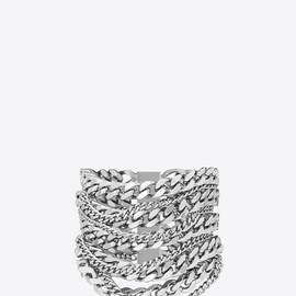 SAINT LAURENT - GOURMETTE BRACELET IN SILVER-TONED BRASS