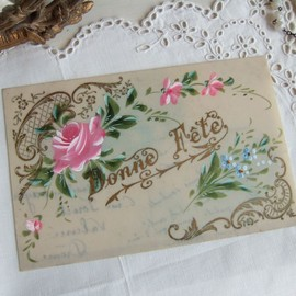 antique - rose & forget-me-not celluloid card