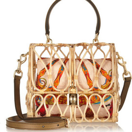 DOLCE&GABBANA - Leather-trimmed rattan shoulder bag
