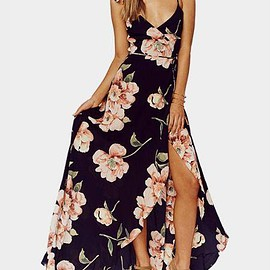 Yoins - Random Floral Print Sleeveless V-neck Maxi Dress