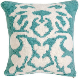 kashwere - DAMASK CUSHION COVER (tender blue / creme)