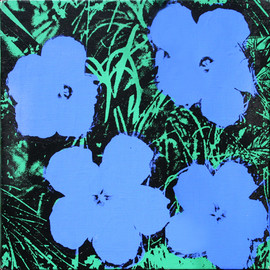 Andy Warhol - Flowers (Four Blue Flowers on a Green and Black Field)