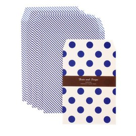 PROPELLER STUDIO - Paper bag set with blue and white polka dots and stripes.