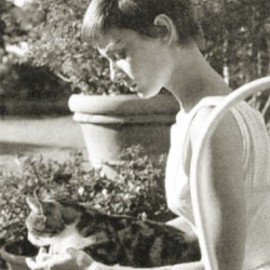 Audrey Hepburn with cat