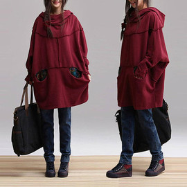 ETSY - Maroon cotton hooded pullover hoodies / sweater comfortable and stylish streets bat Coat