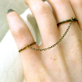 okalexk - adjustable brass double rings with chain