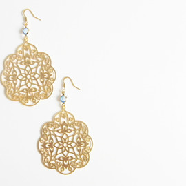 Ostara - 16k Gold Plated Exotic Filigree Earrings/Blue Glass