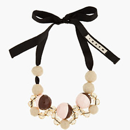 MARNI - MARNI EDITION Tan Oversize Beaded Ribbon-Tied Necklace