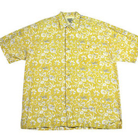 VINTAGE - Vintage 90s Bugle Boy Original Yellow Hawaiian Shirt Mens Size XL