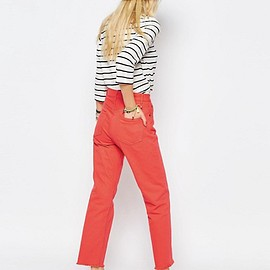 ASOS - FLORENCE Authentic Straight Leg Jean in Tangerine with Raw Hem