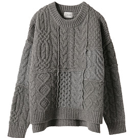 clane - PATCHWORK CABLE KNIT