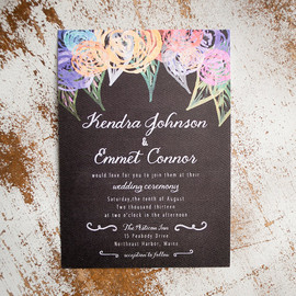 Rustic Wedding Invitation Suite - Chalkboard Posies -