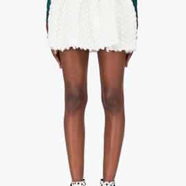 OPENING CEREMONY - Ivory Gathered Wool Skirt