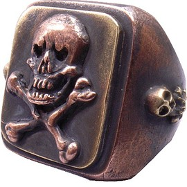 "DRY BONES - Copper Ring""SKULL"""