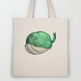 Society6(art:Ben Geiger) - Tubby Sketch Whale Tote Bag