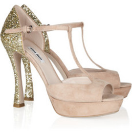 miu miu - Glitter-finish suede Mary Jane sandals