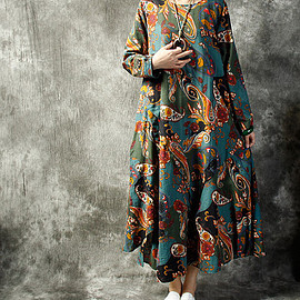 Maxi linen dress, Summer long Printed dress, Short sleeves long dress, long cotton dress
