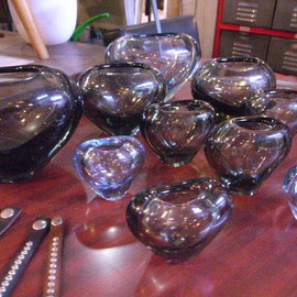 small vase & flame bowl, glass