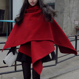 Fashion Solid Color Cape-style Irregular Woolen Coat