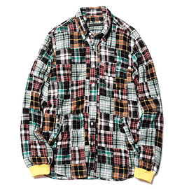 SOPHNET. - PATCH WORK FLANNEL CHECK RIBBED B.D SHIRT