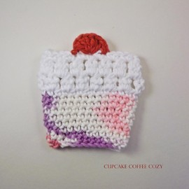 Luulla - crochet coffee cozy - cupcake- pink and purple, vanilla white frosting, cherry on top