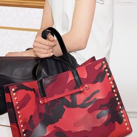 VALENTINO - Valentino Rockstud Camo Canvas & Nappa Leather Tote