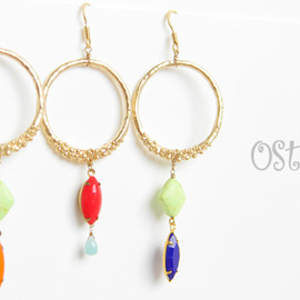 Ostara - 16K Gold Plated Matt Gold Grainy Ring Earrings