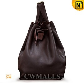 cwmalls - Leather Drawstring Bucket Backpack CW252085