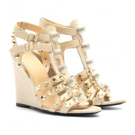 BALENCIAGA - SUEDE AND LEATHER STUDDED WEDGES